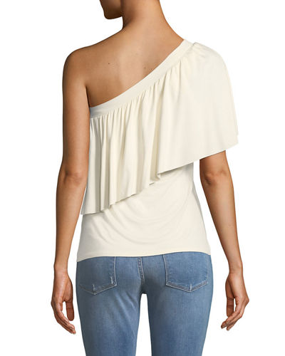 Ruffled One-Shoulder Jersey Top
