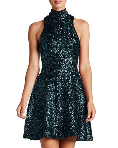 Dress The Population Stevie High-Neck Sequin Fit &
