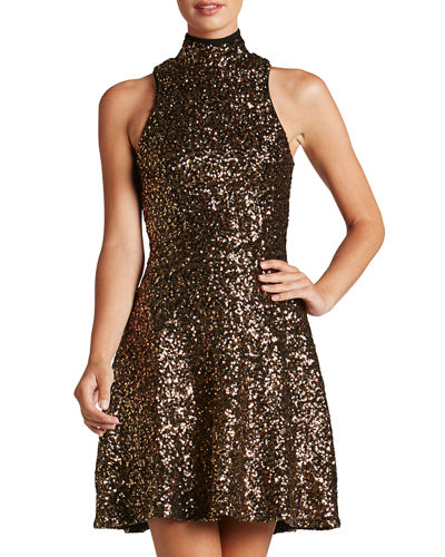 Stevie High-Neck Sequin Fit & Flare Dress