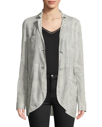 Diamond-Perforated Goat-Suede Jacket