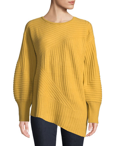 Cashmere Balloon-Sleeve Ribbed Sweatshirt