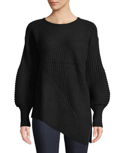 Cashmere Balloon-Sleeve Ribbed Sweater