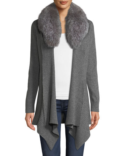 Fox-Fur Collared Cashmere Cardigan