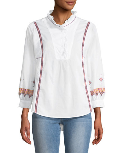 Ruffle-Neck Embroidered Button-Front Tunic