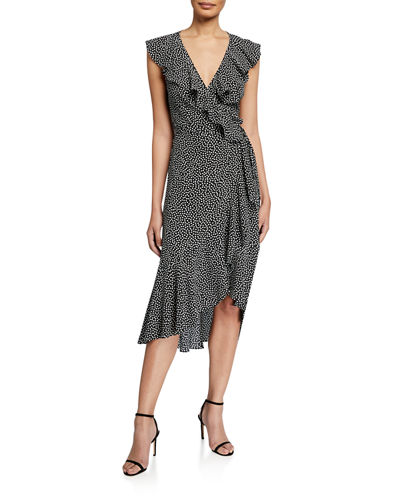 Ruffle-Trim Crepe Wrap Midi Dress