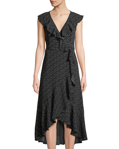 Max Studio Ruffle-Trim Crepe Wrap Midi Dress