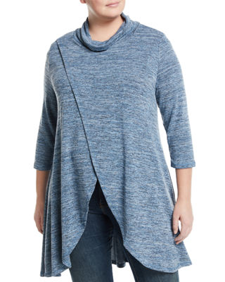 P. LUCA Cowl-Neck Wrap-Front Tunic, Plus Size in Blue