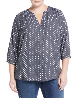 NYDJ PLUS 3/4 Sleeve Button-Front Blouse, Plus Size in Blue