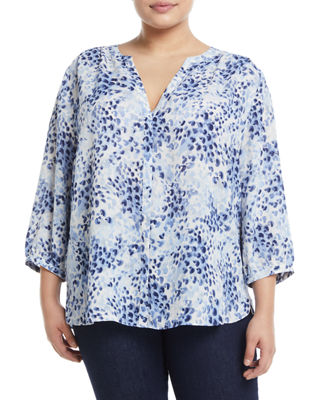 NYDJ PLUS 3/4 Sleeve Button-Front Blouse, Plus Size in Multi Pattern