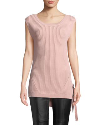 BLACK TAPE Sleeveless High-Low Sweater in Pink