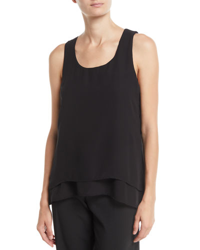 Joan Vass Scoop-Neck Layered-Hem Woven Tank