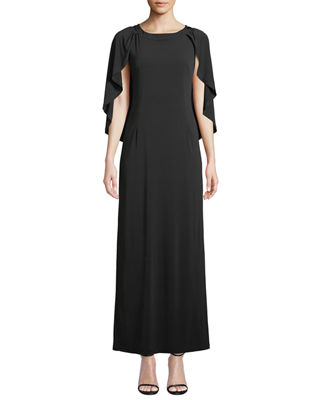 MELISSA MASSE Caped Luxe-Jersey Maxi Dress in Black