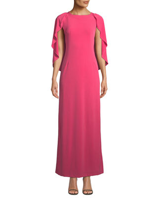 MELISSA MASSE Caped Luxe-Jersey Maxi Dress in Pink