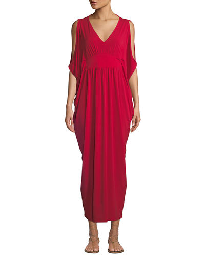 Melissa Masse Cold-Shoulder Cape-Sleeve V-Neck Maxi Dress