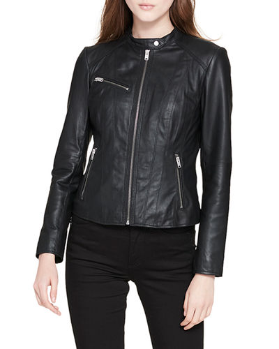Classic Stand-Collar Leather Moto Jacket