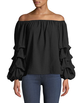 P. LUCA Off-The-Shoulder Ruched Balloon Sleeve Blouse in Black