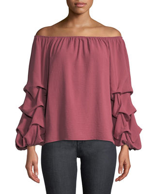 P. LUCA Off-The-Shoulder Ruched Balloon Sleeve Blouse in Pink