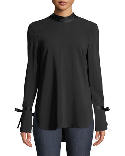 Contemporary Designer Costello Mock-Neck Long-Sleeve Tunic with