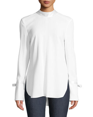 CONTEMPORARY DESIGNER Costello Mock-Neck Long-Sleeve Tunic With Ties in White