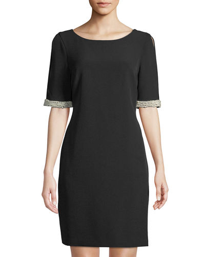 Karl Lagerfeld Paris Pearl-Sleeve Cold-Shoulder Shift Dress