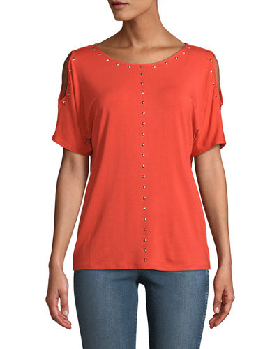 Carmen by Carmen Marc Valvo Dome-Studded Cold-Shoulder Tee