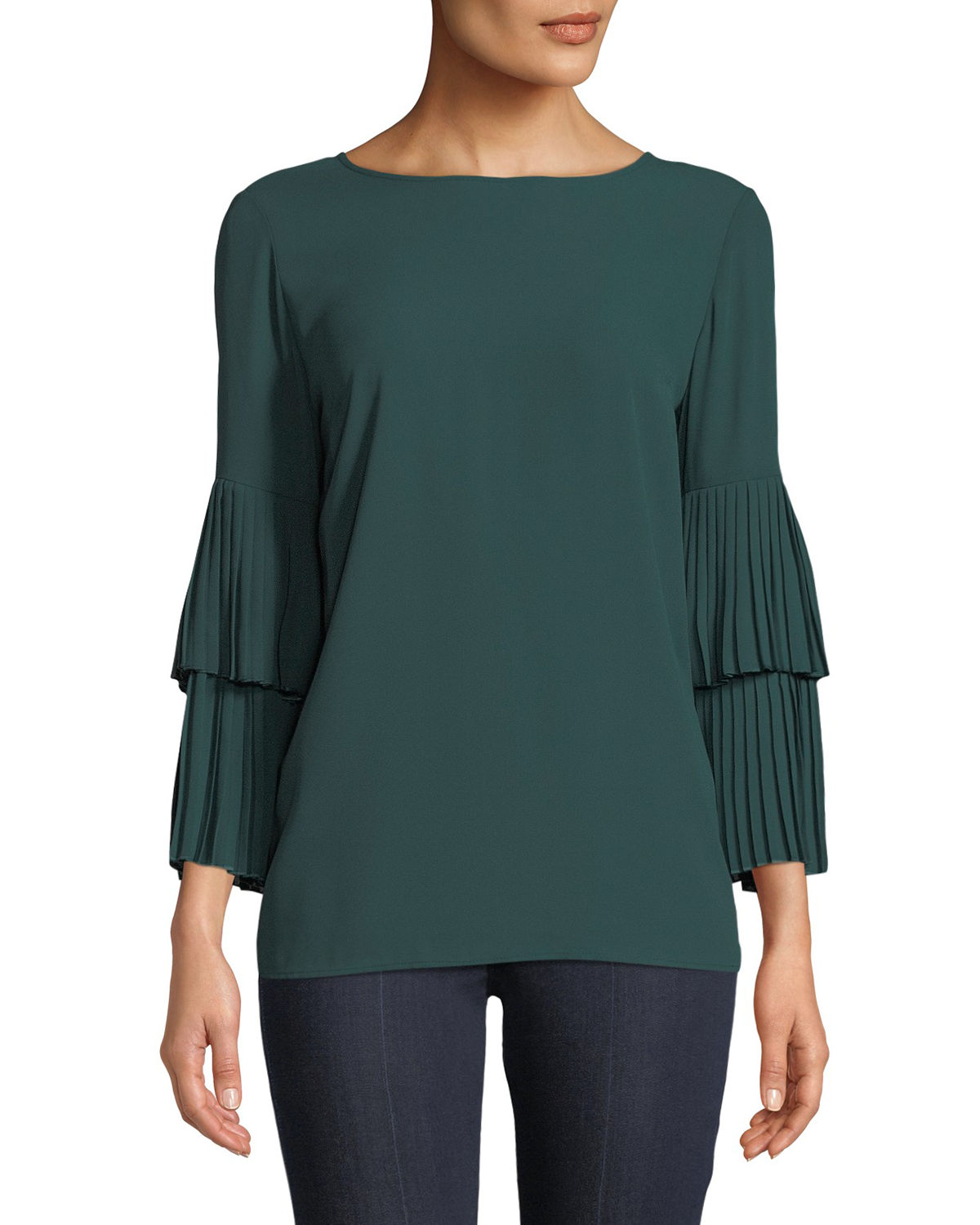 Tiered Pleated Bell-Sleeve Blouse