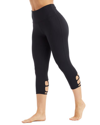 THE BALANCE COLLECTION Talia Activewear Capri Leggings With Lattice Detail in Black