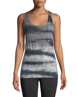 THE BALANCE COLLECTION Lorene Tie-Dye Knot-Back Muscle Tee in Black