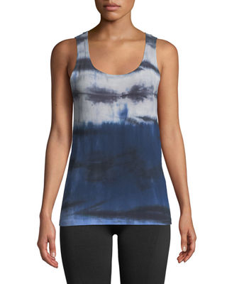 THE BALANCE COLLECTION Lorene Tie-Dye Knot-Back Muscle Tee in Blue