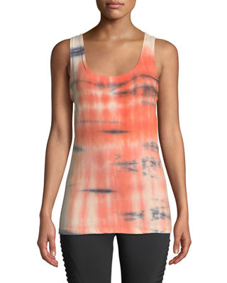 THE BALANCE COLLECTION Lorene Tie-Dye Knot-Back Muscle Tee in Orange