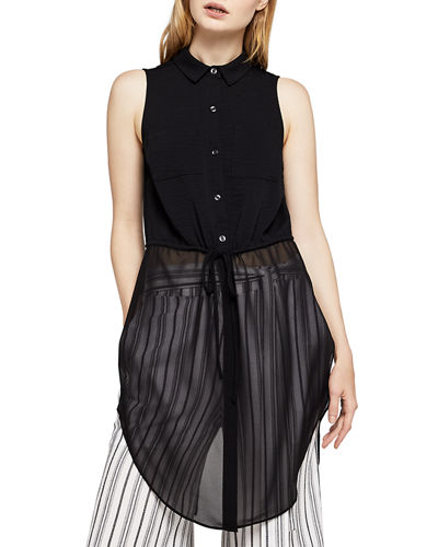 BCBGeneration Sleeveless Chiffon-Hem Button-Front Blouse