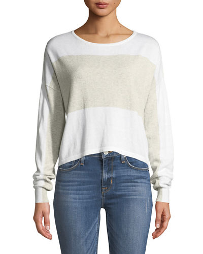 Minnie Rose Surf Colorblocked Crop Sweater