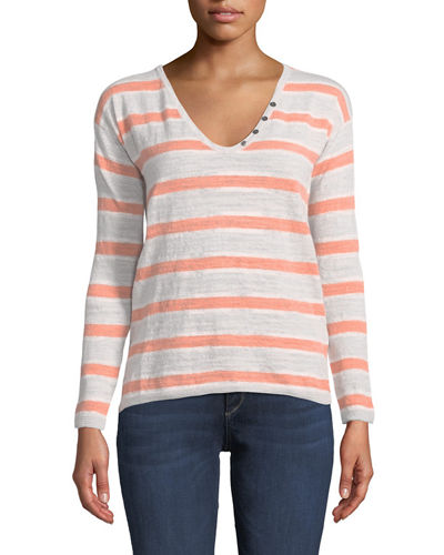 Minnie Rose Lightweight Striped Henley Sweater