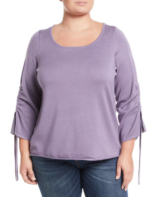 VERVE Tunneled-Bow-Sleeve Knit Top, Plus Size in Violet
