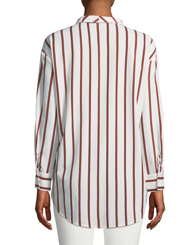 Faux-Wrap Long-Sleeve Striped High-Low Blouse