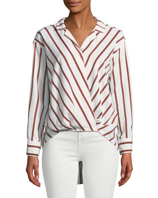 P. LUCA Faux-Wrap Long-Sleeve Striped High-Low Blouse in Cream