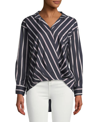 P. LUCA Faux-Wrap Long-Sleeve Striped High-Low Blouse in Navy