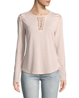 BLACK TAPE Lace-Up Detail Scoop-Neck Tee in Pink