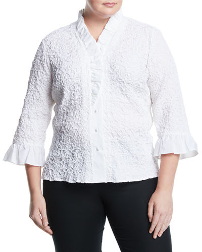 Go Silk Ruffle-Sleeve Puckered Poplin Shirt, Plus Size