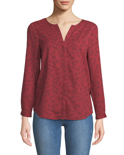 Purine Button-Front Cherry-Stem Print Blouse
