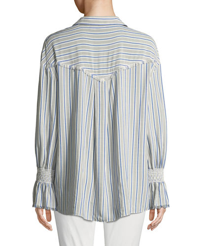 Striped Smocked-Cuff Button-Front Blouse
