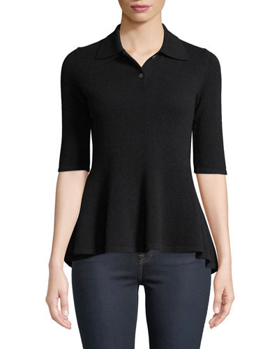 Elbow-Sleeve Cashmere Peplum Polo Shirt
