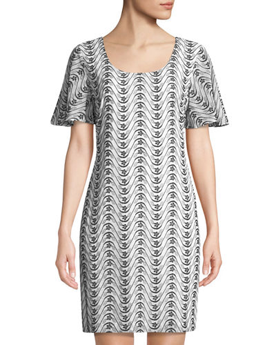 Karl Lagerfeld Paris Embroidered Sheer-Sleeve Shift Dress
