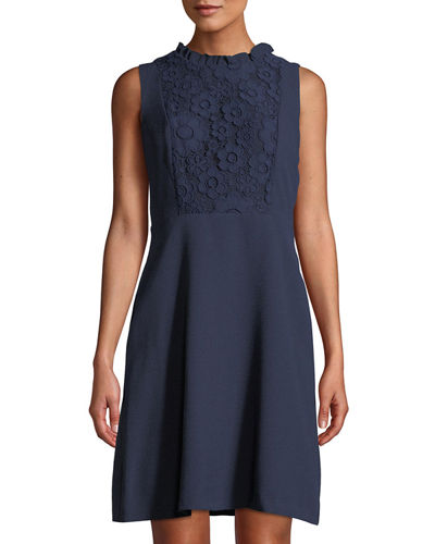 Karl Lagerfeld Paris Lace-Bib Sleeveless A-Line Dress