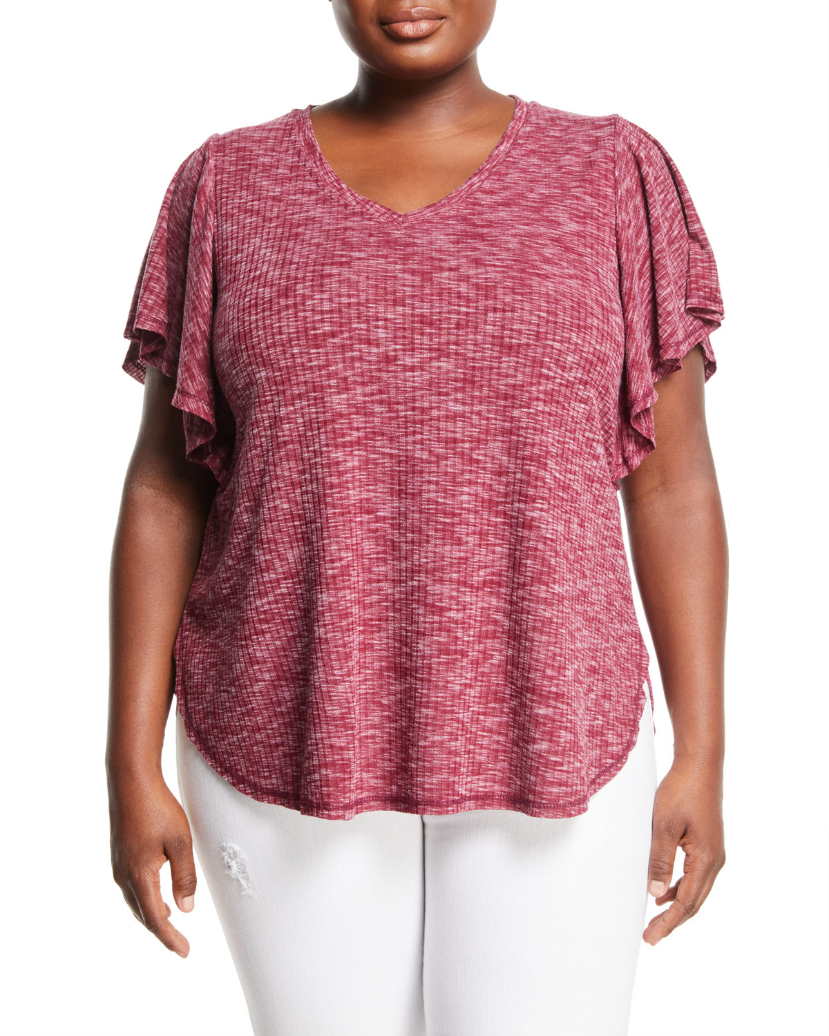 Mariee Flutter-Sleeve Ribbed Space-Dye Tee, Plus Size