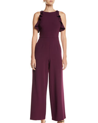 Crepe Ruffle Trim Wide Leg Jumpsuit, Black
