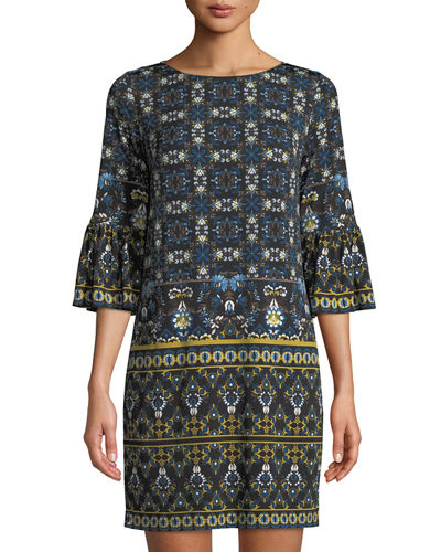 Flounce-Sleeve Printed Shift Dress