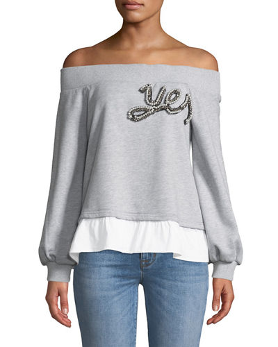 Endless Rose Embroidered Patch Off-The-Shoulder Sweatshirt