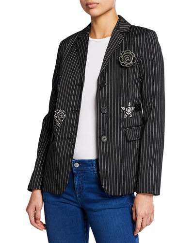 Patch-Embellished Pinstripe Blazer