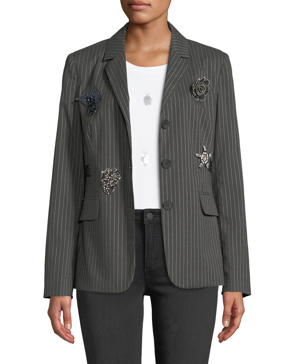 Romeo & Juliet Couture PATCH-EMBELLISHED PINSTRIPE BLAZER